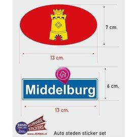 Allerhandestickers.nl Middelburg steden vlaggen auto stickers set van 2