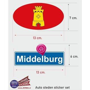 Allerhandestickers.nl Middelburg steden vlaggen auto stickers set van 2 stickers