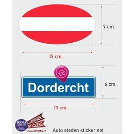 Allerhandestickers.nl Dordrecht steden vlaggen auto stickers set van 2