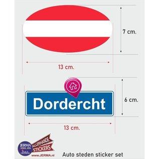 Allerhandestickers.nl Dordrecht steden vlaggen auto stickers set van 2 stickers