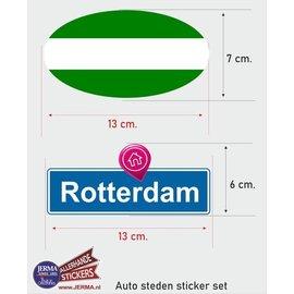 Allerhandestickers.nl Rotterdam steden vlaggen auto stickers set van 2