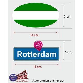 Allerhandestickers.nl Rotterdam steden vlaggen auto stickers set van 2 stickers