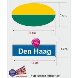 Allerhandestickers.nl Den Haag steden vlaggen auto stickers set van 2