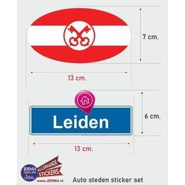 Allerhandestickers.nl Leiden steden vlaggen auto stickers set van 2