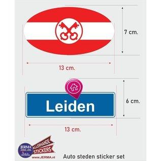 Allerhandestickers.nl Leiden steden vlaggen auto stickers set van 2 stickers