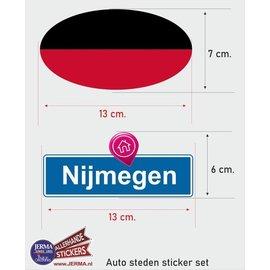 Allerhandestickers.nl Nijmegen steden vlaggen auto stickers set van 2