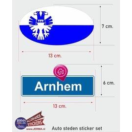Allerhandestickers.nl Arnhem steden vlaggen auto stickers set van 2