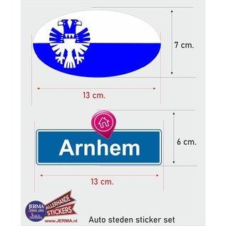 Allerhandestickers.nl Arnhem steden vlaggen auto stickers set van 2 stickers