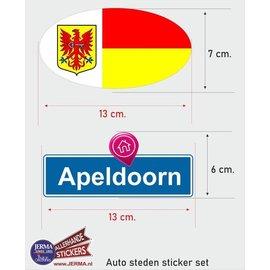 Allerhandestickers.nl Apeldoorn steden vlaggen auto stickers set van 2