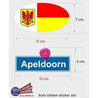 Allerhandestickers.nl Apeldoorn steden vlaggen auto stickers set van 2 stickers
