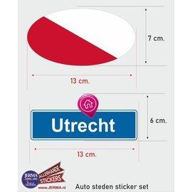 Allerhandestickers.nl Utrecht steden vlaggen auto stickers set van 2