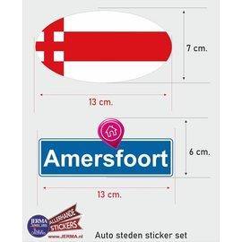 Allerhandestickers.nl Amersfoort steden vlaggen auto stickers set van 2