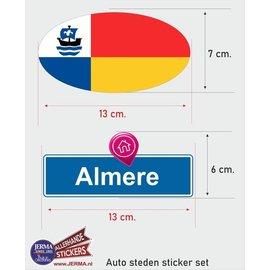 Allerhandestickers.nl Almere steden vlaggen auto stickers set van 2