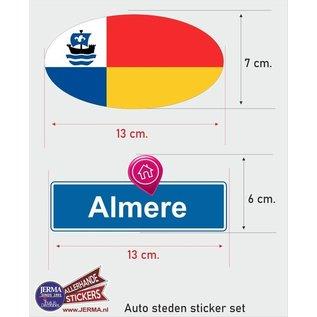 Allerhandestickers.nl Almere steden vlaggen auto stickers set van 2 stickers