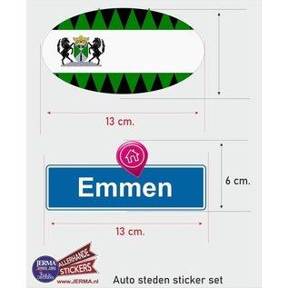 Allerhandestickers.nl Emmen steden vlaggen auto stickers set van 2 stickers