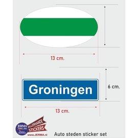 Allerhandestickers.nl Groningen steden vlaggen auto stickers set van 2