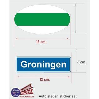 Allerhandestickers.nl Groningen steden vlaggen auto stickers set van 2 stickers
