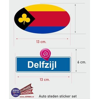 Allerhandestickers.nl Delfzijl steden vlaggen auto stickers set van 2 stickers