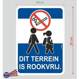 Allerhandestickers.nl Dit terrein is rookvrij sticker.