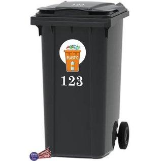 Allerhandestickers.nl Plastic afval Kliko sticker samen met set van 2x uw huisnummer.