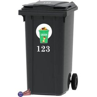 Allerhandestickers.nl Groen afval Kliko sticker samen met set van 2x uw huisnummer.