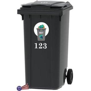 Allerhandestickers.nl Rest afval Kliko sticker samen met set van 2x uw huisnummer