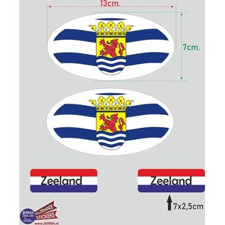 Allerhandestickers.nl Provincie Zeeland vlaggen auto sticker set.