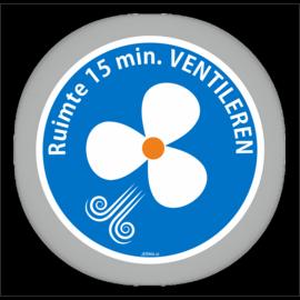Allerhandestickers.nl Ruimte 15 minuten ventileren pictogram sticker.20cm