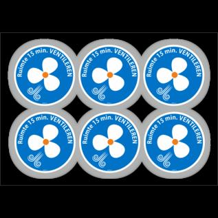 Allerhandestickers.nl Ruimte 15 minuten ventileren pictogram sticker set 6 stuks 9cm.