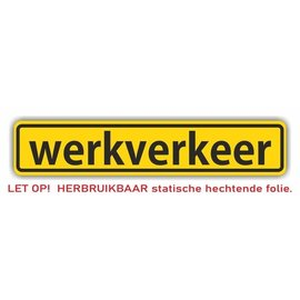Allerhandestickers.nl Werkverkeer statische hechtende folie 40 x 8 cm.