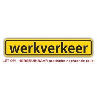 Allerhandestickers.nl Werkverkeer statische hechtende folie per stuk 40 x 8 cm.