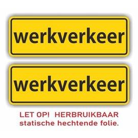 Allerhandestickers.nl Werkverkeer statische hechtende folie set 2 st 8x25cm.