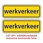 Allerhandestickers.nl Werkverkeer statische hechtende folie set 2 stuks van 8 x 25 cm.