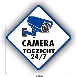 Allerhandestickers.nl Cameratoezicht sticker is diagonaal 20 cm.