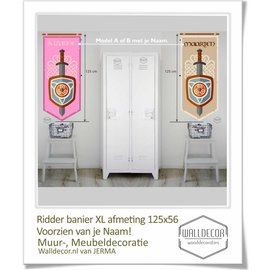Walldecor Ridder decoratie banier met je naam.