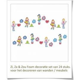 DecoKids.nl Meisjeskamer decoratie Zi, Za & Zou wanddecoratie set.