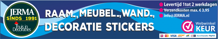 JERMA Thuis in decoratie stickers voor de wand of als raamsticker