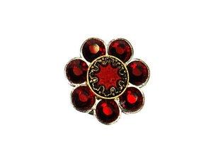 Sari Design swarovski flower, rood