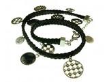 gevlochten wikkelarmband met bedels, zwart