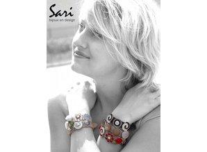Sari Design lederen band, donker blauw