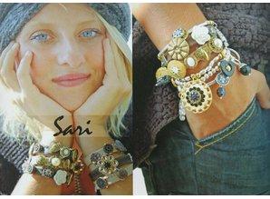Sari Design ovaal button, tuquoise