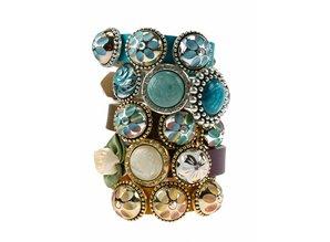 Sari Design chique button, goud met witte boem