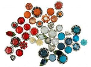 Sari Design funny button, kunsstof bloem, grijs