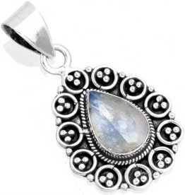 hanger regenboog maansteen, sterling zilver