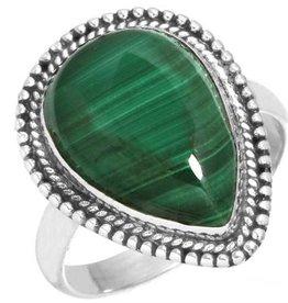 prachtige ring malachiet, sterling zilver, groot model
