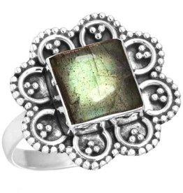labradoriet ring, sterling zilver, groot model, outlet
