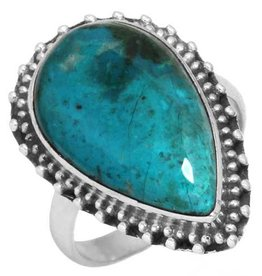 schitterende chrysocolla ring, sterling zilver, groot model
