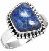edelsteen ring lapis lazuli, sterling zilver, vrije vorm, voordeelactie