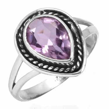 edelsteen ring amethist, facetgeslepen, sterling zilver, druppelvorm, ringmaat 16,5