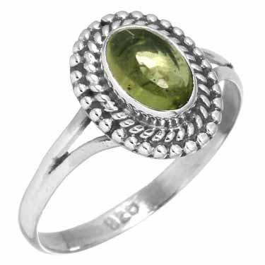 edelsteen ring peridoot, sterling zilver, maat 17,25, voordeelactie